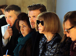 David Beckham sits next to Suzy Menkes and Anna Wintour to watch Victoria Beckham's  show at New York Fashion Week for Autumn/Winter 2013 , Sunday, 10th February 2013. Photo by: Stephen Lock / i-Images