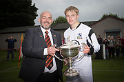 Stuart Campbell of Arab Trust and associate director at Dundee Untied presents the Dundee United Cup to Grove captain Scott Glennie - Grove (white) v Craigie (gold and black stripes) Dundee United Cup sponsored by Arab Trust at Whitton Park, Dundee, Photo: David Young<br /> <br />  - &copy; David Young - www.davidyoungphoto.co.uk - email: davidyoungphoto@gmail.com