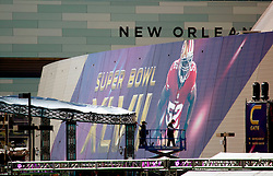 31 Jan 2013. New Orleans, Louisiana USA. .The Mercedes Benz Superdome, home of the New Orleans Saints plays host to the XLVII (47th) Annual Super Bowl with the Baltimore Ravens against the San Francisco 49'ers. With just days to go, NFL branding has taken over the downtown icon as they prepare for the big game..Photo; Charlie Varley