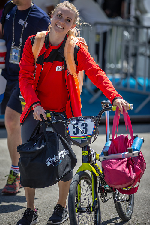 Women Elite #53 (PRIES Nadja) GER arriving on race day at the 2018 UCI BMX World Championships in Baku, Azerbaijan.
