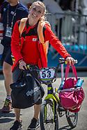 Women Elite #53 (PRIES Nadja) GER arriving on race day at the 2018 UCI BMX World Championships in Baku, Azerbaijan.