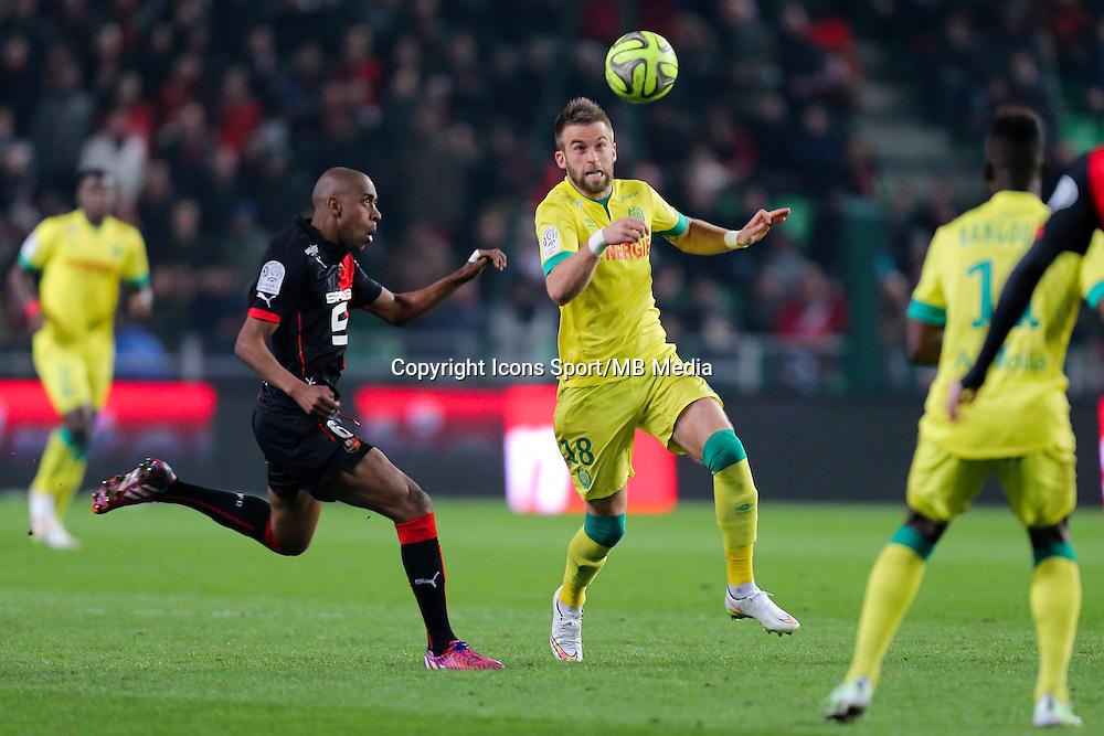 Lucas DEAUX / Gelson FERNANDES - 21.03.2015 - Rennes / Nantes - 30eme journee de Ligue 1<br />Photo : Vincent Michel / Icon Sport