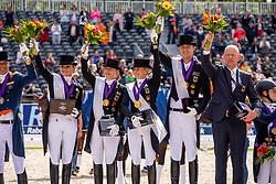 Team Germany, Werth Isabell, Rothenberger Sonke, Schneiders Dorothee, Von Bredow-Werndl Jessica<br /> European Championship Dressage<br /> Rotterdam 2019<br /> © Hippo Foto - Dirk Caremans