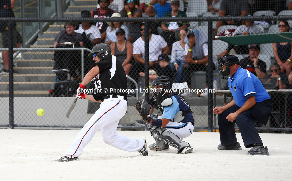 Black Sox Zane Van Leishout, Challenge Cup softball tournament Final, New Zealand Black Sox v Argentina, Rosedale Park, Auckland. 12 February 2017. Copyright Image: Renee McKay / www.photosport.nz
