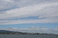 View of Dun Laoghaire town in Dublin Ireland from the sea