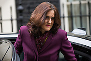 UNITED KINGDOM, London: 1 March 2016. Northern Ireland Secretary Theresa Villiers arrives in Downing Street to attend Cabinet meeting in central London.  Pic by Andrew Cowie / Story Picture Agency