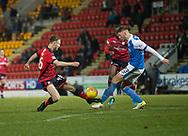 30th December 2017, McDiarmid Park, Perth, Scotland; Scottish Premiership football, St Johnstone versus Dundee; St Johnstone's Liam Gordon tackles Dundee's Matty Hanvey