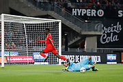 Anthony LOPES (Olympique Lyonnais) boxed the ball out from Firmin MUBELE(STADE RENNAIS FOOTBALL CLUB) during the French championship L1 football match between Rennes v Lyon, on August 11, 2017 at Roazhon Park stadium in Rennes, France - Photo Stephane Allaman / ProSportsImages / DPPI