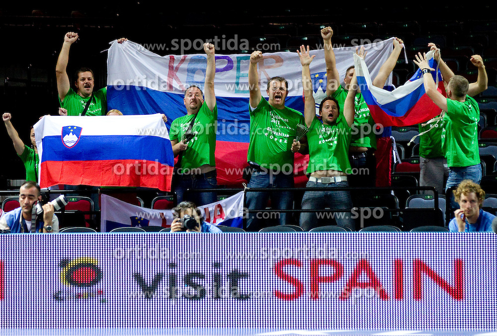 Fans of Slovenia during basketball match between National teams of Belgium and Slovenia in Group D of Preliminary Round of Eurobasket Lithuania 2011, on September 4, 2011, in Arena Svyturio, Klaipeda, Lithuania.  (Photo by Vid Ponikvar / Sportida)