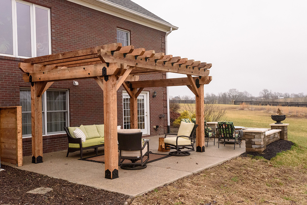 The walkout patio outside David's office in the lower level of the home of Kristen and David Embry in Pendleton, Ky. Feb. 22, 2018