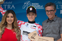 Best young rider's competition winner, Chloe Dygert (USA) of Twenty16 Ridebiker Cycling Team stands on the podium of the fourth, 70 km road race stage of the Amgen Tour of California - a stage race in California, United States on May 22, 2016 in Sacramento, CA.