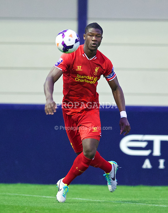MANCHESTER, ENGLAND - Monday, September 23, 2013: Liverpool's captain Stephen Sama in action against Manchester City during the Under 21 FA Premier League match at Ewen Fields. (Pic by David Rawcliffe/Propaganda)