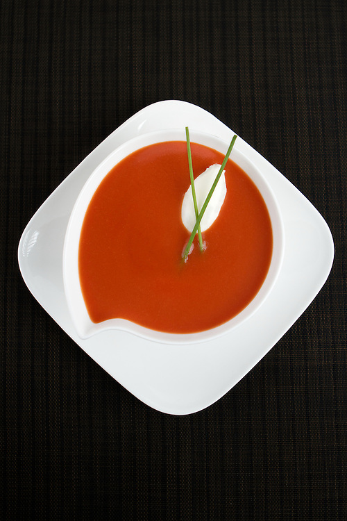 Fresh Tomato soup with Chives and Sour Cream