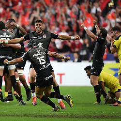 Romain Ntamack and team of Toulouse celebrate the victory during the Top 14 Final match between Toulouse and Clermont at Stade de France on June 15, 2019 in Paris, France. (Photo by Anthony Dibon/Icon Sport)