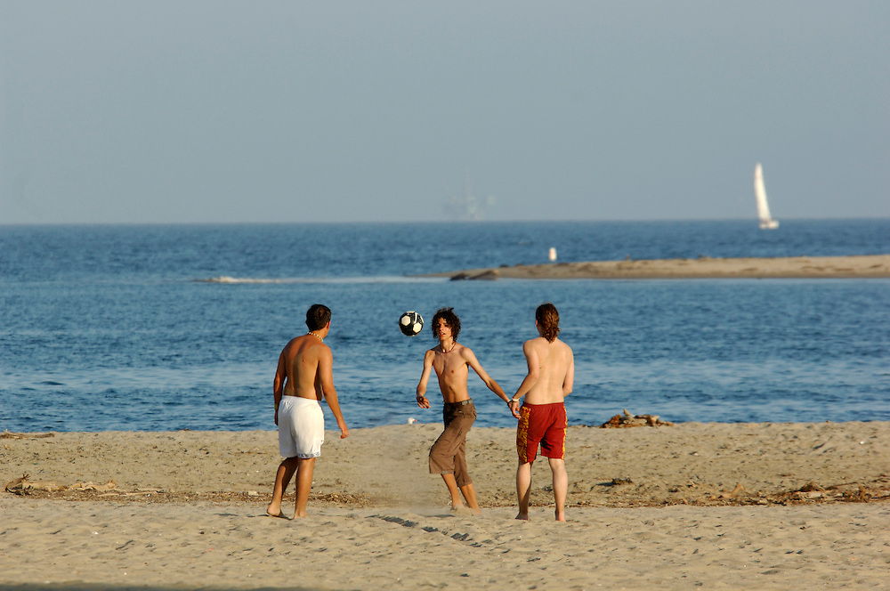 People playing ball, Sandy Beach, Santa Barbara, California, United States of America