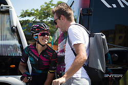 Elena Cecchini (ITA) of CANYON//SRAM Racing chats to her boyfriend, Elia Viviani before Stage 10 of the Giro Rosa - a 124 km road race, starting and finishing in Torre Del Greco on July 9, 2017, in Naples, Italy. (Photo by Balint Hamvas/Velofocus.com)