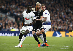 April 30, 2019 - London, England, United Kingdom - L-R Tottenham Hotspur's Davinson Sanchez Hakim Ziyech of Ajax  and Tottenham Hotspur's Toby Alderweireld .during UEFA Championship League Semi- Final 1st Leg between Tottenham Hotspur  and Ajax at Tottenham Hotspur Stadium , London, UK on 30 Apr 2019. (Credit Image: © Action Foto Sport/NurPhoto via ZUMA Press)