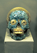 Skull covered in turquoise mosaic. Mixtec 1400-152l, southern Mexico. Pre-Columbian
