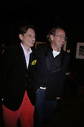 Hamish Bowles and David Collins. 4 Inches, A  Photographic Auction in aid of the Elton John Aids Foundation hosted by Tamara Mellon and Arnaud Bamberger. Christie's. 8 King St. London. 25 May 2005. ONE TIME USE ONLY - DO NOT ARCHIVE  © Copyright Photograph by Dafydd Jones 66 Stockwell Park Rd. London SW9 0DA Tel 020 7733 0108 www.dafjones.com
