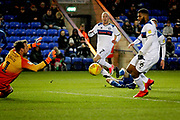 Peterborough Utd forward Marcus Maddison (21) (on the ground) sees this shot hit the post during the EFL Sky Bet League 1 match between Peterborough United and Rochdale at London Road, Peterborough, England on 12 January 2019.