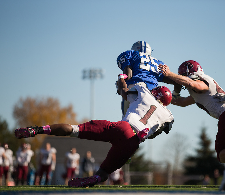 Colby College running back Jabari Hurdle-Price (25) carries the ball during a NCAA Division III football game between Colby College and Bates College at Seaverns Field at Harold Alfond Stadium on October 24, 2015 in Waterville, Maine. (Dustin Satloff)