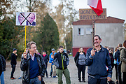 """Citizens - Don't let democracy be threatened"", two lonely protesters during Czech president Milos Zeman's public ""meetings with citizens"" at the village of Brasy located in the Pilsen Region. Miloš Zeman (born 28 September 1944) is the third and current President of the Czech Republic, in office since 8 March 2013.  He announced his candidacy for the 2018 presidential elections which will be held in the Czech Republic on 12–13 January."