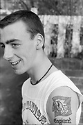 Symond with tattoo, High Wycombe, UK, 1980's