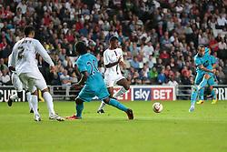 Tottenham's Andros Townsend tries a shot during the pre-season friendly game between MK Dons and Tottenham XI.  Photo mandatory by-line: Nigel Pitts-Drake/JMP  - Tel: Mobile:07966 386802 31/07/2013 - MK Dons v  Tottenham XI  - SPORT - FOOTBALL - pre-season - Milton Keynes - Stadium MK