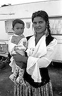 Rome   August 1999.Mother and son, rom Romanian, in the Rom's camp  Casilino 700.