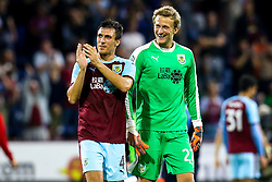 Jack Cork of Burnley and Anders Lindegaard of Burnley celebrate victory over Aberdeen - Mandatory by-line: Robbie Stephenson/JMP - 02/08/2018 - FOOTBALL - Turf Moor - Burnley, England - Burnley v Aberdeen - UEFA Europa League Second Qualifier, 2nd Leg
