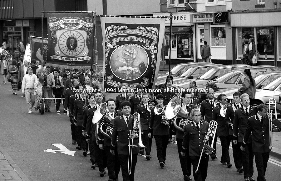 Silverwood and Armthorpe Branch banners. 1994 Yorkshire Miners Gala. Doncaster.