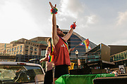 Pelvic thrusting to &quot;Let's do the Time Warp again.&quot;<br /> The Lesbian, Gay, Bisexual, Transgender, and Queer (LGBTQ) community and their friends, family and supporters walked and lined Main Street from Floyd Street to the Belvedere for the Kentuckiana Pride Parade, Saturday, June 16, 2017 in Louisville, Ky. (Photo by Brian Bohannon)