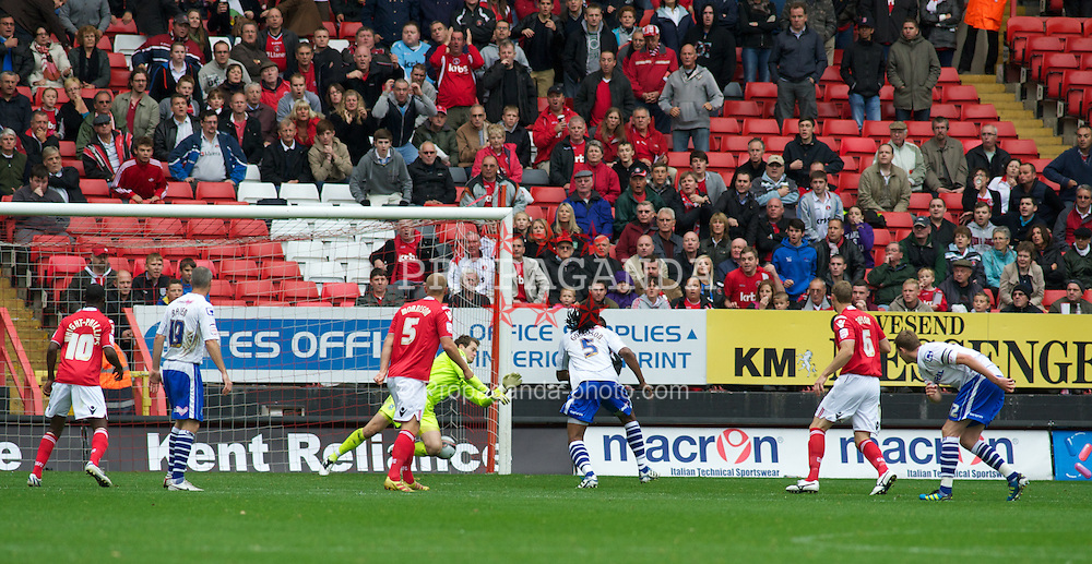 LONDON, ENGLAND - Saturday, October 8, 2011: Tranmere Rovers' Owain Fon Williams denies Charlton Athletic's Dale Stephens goal scoring chance during the Football League One match at The Valley. (Pic by Gareth Davies/Propaganda)