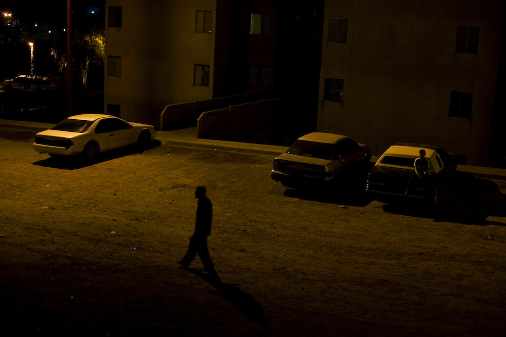 Night time in the poor, dangerous neighborhoods of Nogales.