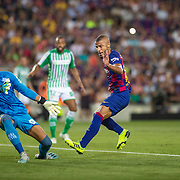 BARCELONA, SPAIN - August 25:  Rafinha #12 of Barcelona misses the ball completely in front of goal as goalkeeper Dani Martin #13 of Real Betis attempts to cover during the Barcelona V  Real Betis, La Liga regular season match at  Estadio Camp Nou on August 25th 2019 in Barcelona, Spain. (Photo by Tim Clayton/Corbis via Getty Images)