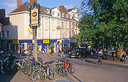 ATBK17 Black taxi cab and bicycles central Norwich Norfolk England