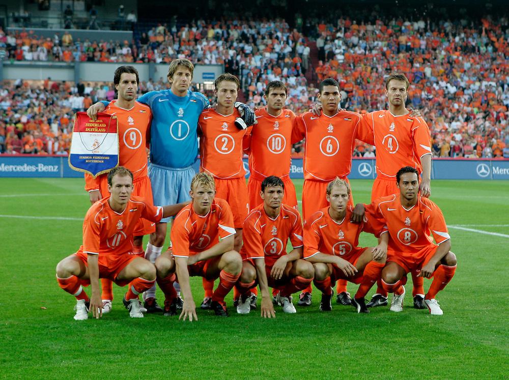 Holland. Rotterdam. 17/08/05. Holland-Germany. Dutch team. Photo: Gerrit de Heus