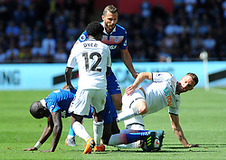 Papa Alioune Ndiaye of Stoke City is challenged by Andy King of Swansea City -Mandatory by-line: Nizaam Jones/JMP- 13/05/2018 - FOOTBALL - Liberty Stadium - Swansea, Wales - Swansea City v Stoke City - Premier League