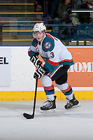 KELOWNA, CANADA - APRIL 3: Riley Stadel #3 of the Kelowna Rockets skates with the puck against the Seattle Thunderbirds on April 3, 2014 during Game 1 of the second round of WHL Playoffs at Prospera Place in Kelowna, British Columbia, Canada.   (Photo by Marissa Baecker/Getty Images)  *** Local Caption *** Riley Stadel;
