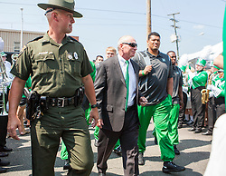 Sep 6, 2015; Huntington, WV, USA; Marshall Thundering Herd head coach Doc Holliday arrives at Joan C. Edwards Stadium prior to their game against the Purdue Boilermakers. Mandatory Credit: Ben Queen-USA TODAY Sports