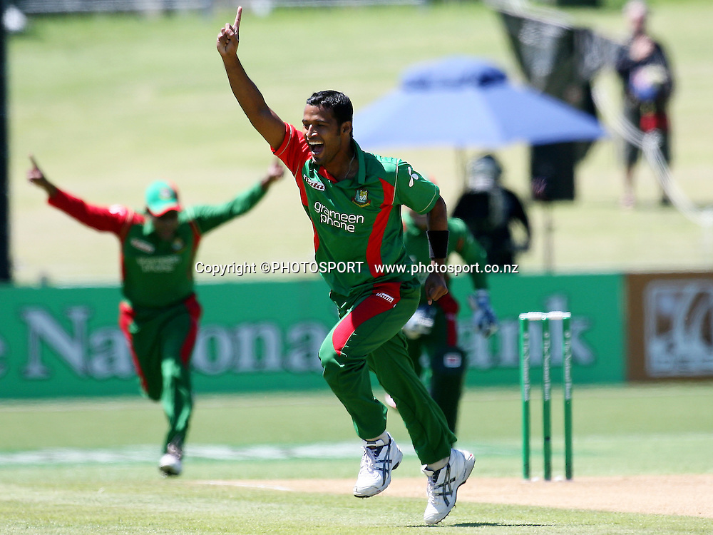 Bangladesh's Nazmul Hossain celebrates the run out of New Zealand's Brendon McCullum for a duck. New Zealand Black Caps v Bangladesh. 1st ODI. McLean Park, Napier. Friday 05 February 2010  Photo: John Cowpland/PHOTOSPORT
