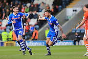 GOAL Ashley Eastham celebrates 1-0 during the Sky Bet League 1 match between Rochdale and Blackpool at Spotland, Rochdale, England on 16 April 2016. Photo by Daniel Youngs.