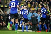 Sheffield Wednesday forward Fernando Forestieri (45) celebrates his spectacular email during the EFL Sky Bet Championship match between Norwich City and Sheffield Wednesday at Carrow Road, Norwich, England on 19 April 2019.