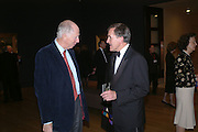 Lord Rothschild and Sir Neil MacGregor. Dinner at the opneing of Degas, Sickert and Toulouse-Lautrec. Tate Britain. Pimlico, London.  London. 3 October 2005. . ONE TIME USE ONLY - DO NOT ARCHIVE © Copyright Photograph by Dafydd Jones 66 Stockwell Park Rd. London SW9 0DA Tel 020 7733 0108 www.dafjones.com