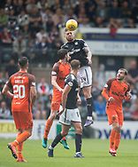 July 30th 2017, Dundee, Scotland; Betfred Cup football, group stages, Dundee versus Dundee United; Dundee&rsquo;s Kerr Waddell towers above Dundee United's Sam Stanton as he heads clear<br /> <br />  - Picture by David Young - www.davidyounghoto@gmail.com - email: davidyoungphoto@gmail.com