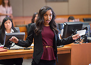 Milby High School student Idalis Villegas-Salinas participates in a mock trail at the Harris County Civil Courthouse, July 30, 2014.
