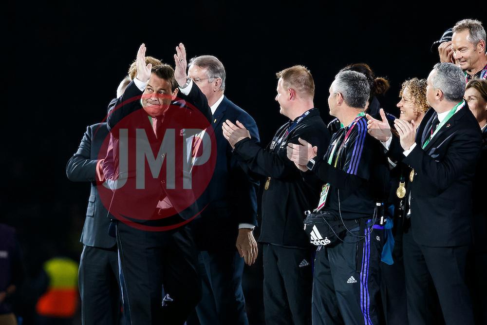 New Zealand Head Coach Steve Hansen celebrates after New Zealand win the match 34-17 to become 2015 World Cup Champions - Mandatory byline: Rogan Thomson/JMP - 07966 386802 - 31/10/2015 - RUGBY UNION - Twickenham Stadium - London, England - New Zealand v Australia - Rugby World Cup 2015 FINAL.