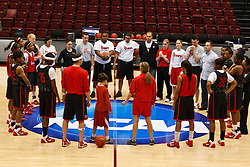 March 18, 2011; Stanford, CA, USA; St. John's Red Storm before practice the day before the first round of the 2011 NCAA women's basketball tournament at Maples Pavilion.