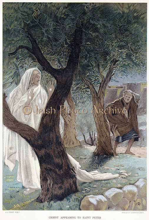 Christ appearing to St Peter. Luke 4. From JJ Tissot 'The Life of Our Saviour Jesus Christ' c1890. Oleograph.