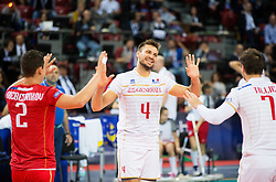 Antonin Rouzier #4 of France  reacts during volleyball match between National teams of Slovenia and France at Final match of 2015 CEV Volleyball European Championship - Men, on October 18, 2015 in Arena Armeec, Sofia, Bulgaria. Photo by Vid Ponikvar / Sportida